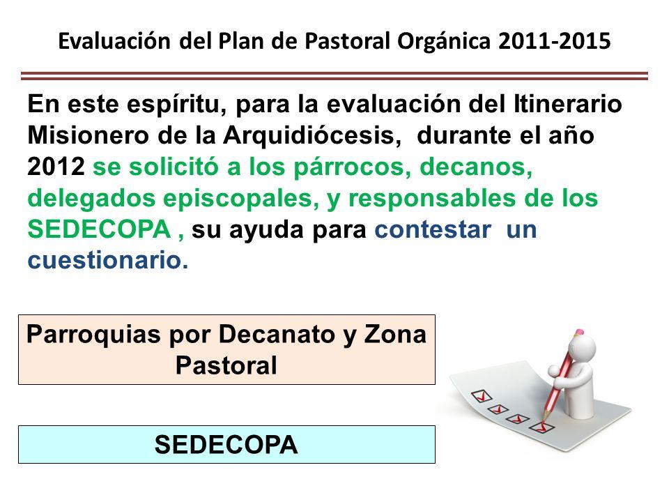 Evaluación del Plan de Pastoral Orgánica 2011-2015 En este espíritu, para la evaluación del Itinerario Misionero de la Arquidiócesis, durante el año 2