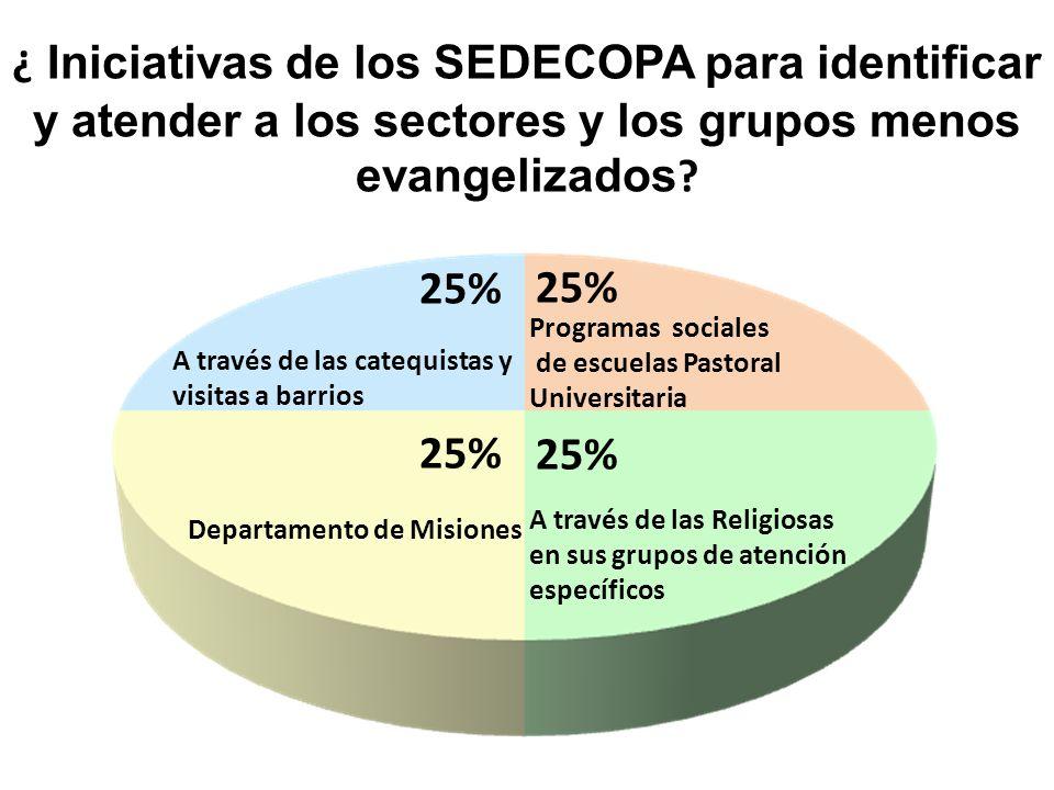 ¿ Iniciativas de los SEDECOPA para identificar y atender a los sectores y los grupos menos evangelizados ? A través de las Religiosas en sus grupos de