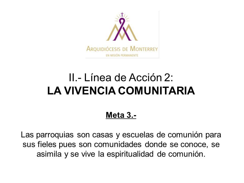 II.- Línea de Acción 2: LA VIVENCIA COMUNITARIA Meta 3.- Las parroquias son casas y escuelas de comunión para sus fieles pues son comunidades donde se