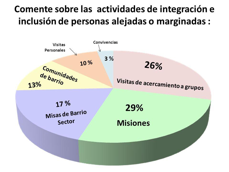Comente sobre las actividades de integración e inclusión de personas alejadas o marginadas : Misiones 29% Visitas de acercamiento a grupos 26% Misas d