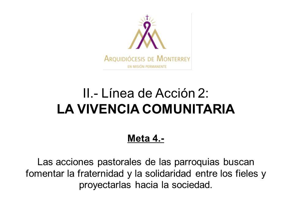 II.- Línea de Acción 2: LA VIVENCIA COMUNITARIA Meta 4.- Las acciones pastorales de las parroquias buscan fomentar la fraternidad y la solidaridad ent