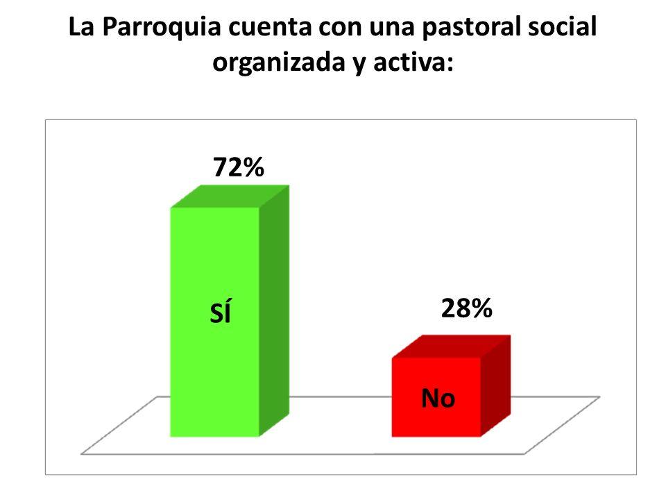 La Parroquia cuenta con una pastoral social organizada y activa: SÍ No 72% 28%