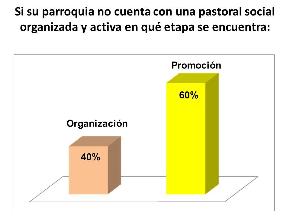 Si su parroquia no cuenta con una pastoral social organizada y activa en qué etapa se encuentra: Organización Promoción 40% 60%