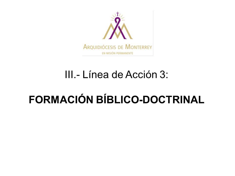 III.- Línea de Acción 3: FORMACIÓN BÍBLICO-DOCTRINAL