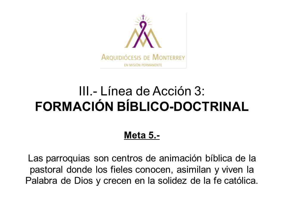 III.- Línea de Acción 3: FORMACIÓN BÍBLICO-DOCTRINAL Meta 5.- Las parroquias son centros de animación bíblica de la pastoral donde los fieles conocen,