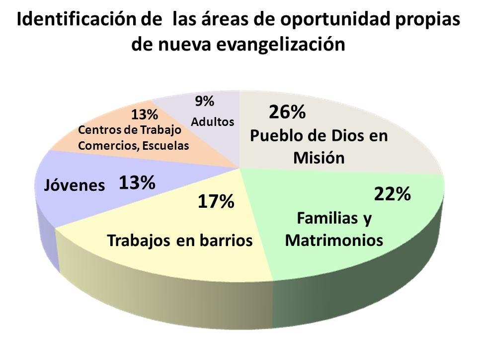 Identificación de las áreas de oportunidad propias de nueva evangelización Trabajos en barrios 17% Familias y Matrimonios 22% Centros de Trabajo Comer