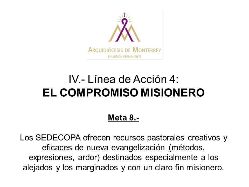 IV.- Línea de Acción 4: EL COMPROMISO MISIONERO Meta 8.- Los SEDECOPA ofrecen recursos pastorales creativos y eficaces de nueva evangelización (método