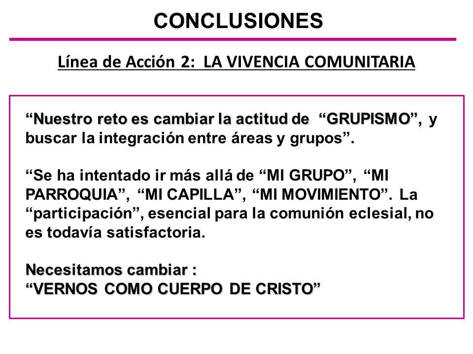 Línea de Acción 2: LA VIVENCIA COMUNITARIA CONCLUSIONES Nuestro reto es cambiar la actitud de GRUPISMO,Nuestro reto es cambiar la actitud de GRUPISMO,