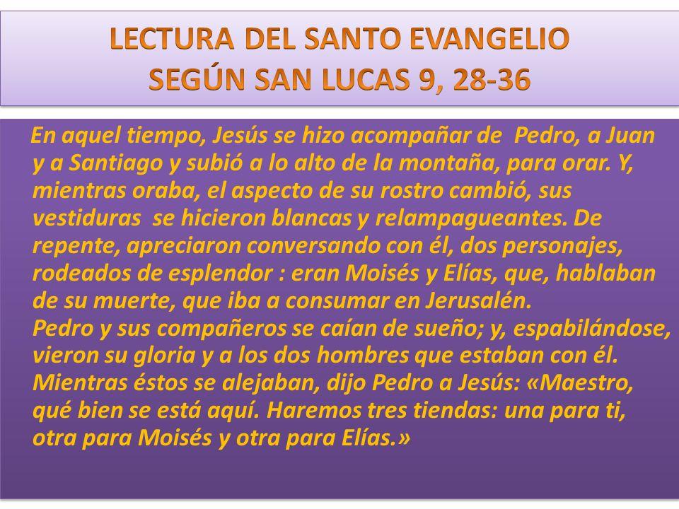 En aquel tiempo, Jesús se hizo acompañar de Pedro, a Juan y a Santiago y subió a lo alto de la montaña, para orar. Y, mientras oraba, el aspecto de su