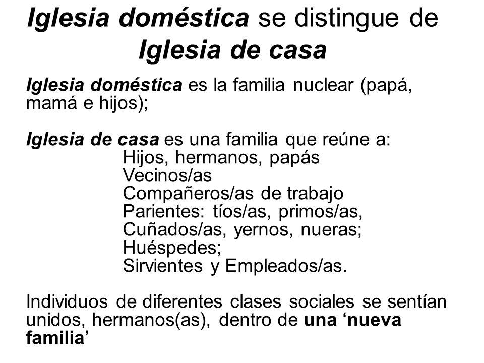 Iglesia doméstica se distingue de Iglesia de casa Iglesia doméstica es la familia nuclear (papá, mamá e hijos); Iglesia de casa es una familia que reú