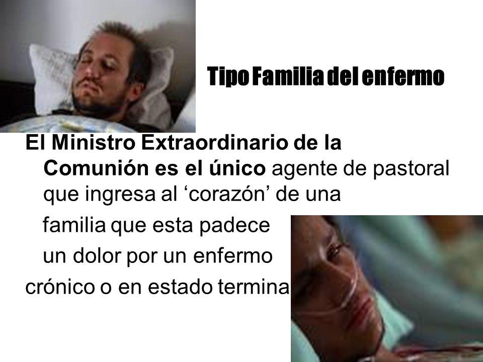 Tipo Familia del enfermo El Ministro Extraordinario de la Comunión es el único agente de pastoral que ingresa al corazón de una familia que esta padec