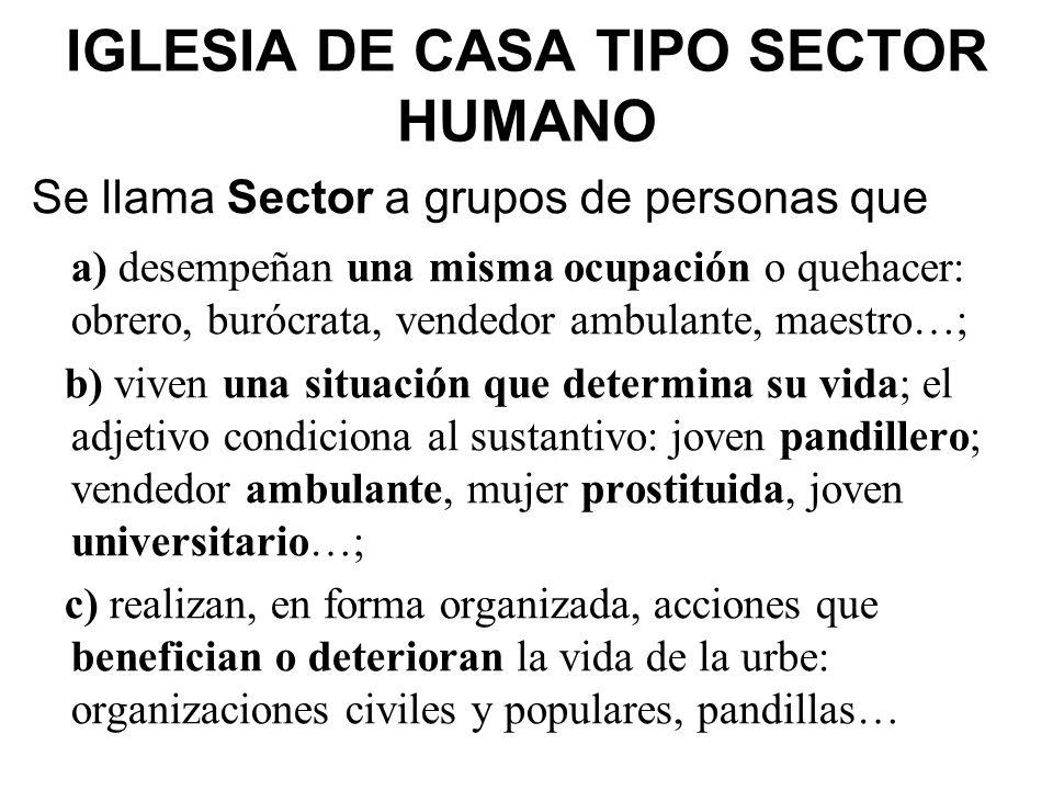 IGLESIA DE CASA TIPO SECTOR HUMANO Se llama Sector a grupos de personas que a) desempeñan una misma ocupación o quehacer: obrero, burócrata, vendedor