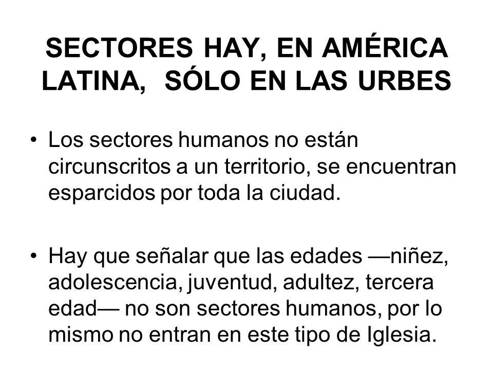 SECTORES HAY, EN AMÉRICA LATINA, SÓLO EN LAS URBES Los sectores humanos no están circunscritos a un territorio, se encuentran esparcidos por toda la c