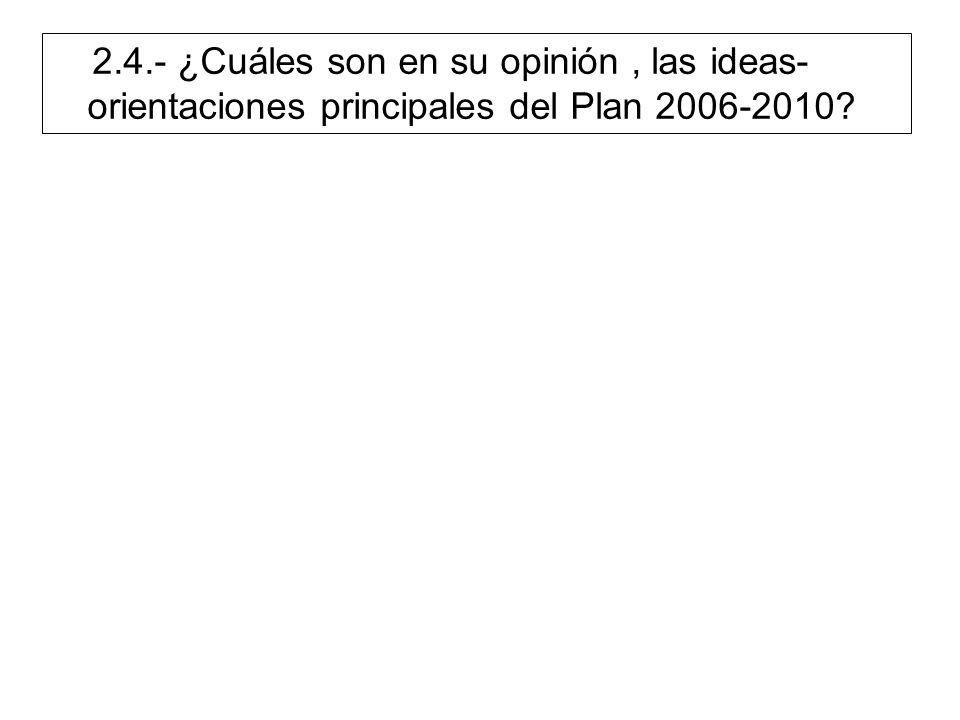 2.4.- ¿Cuáles son en su opinión, las ideas- orientaciones principales del Plan 2006-2010?
