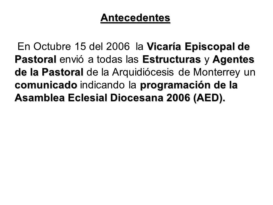 Antecedentes Vicaría Episcopal de PastoralEstructurasAgentes de la Pastoral comunicadoprogramación de la Asamblea Eclesial Diocesana 2006 (AED).