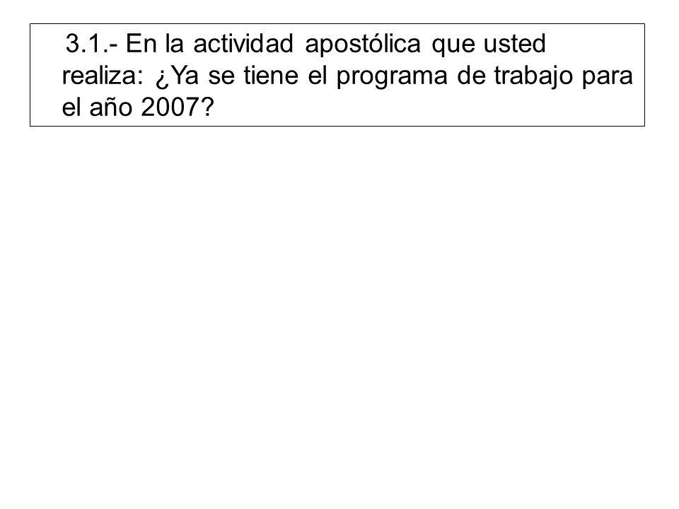 3.1.- En la actividad apostólica que usted realiza: ¿Ya se tiene el programa de trabajo para el año 2007