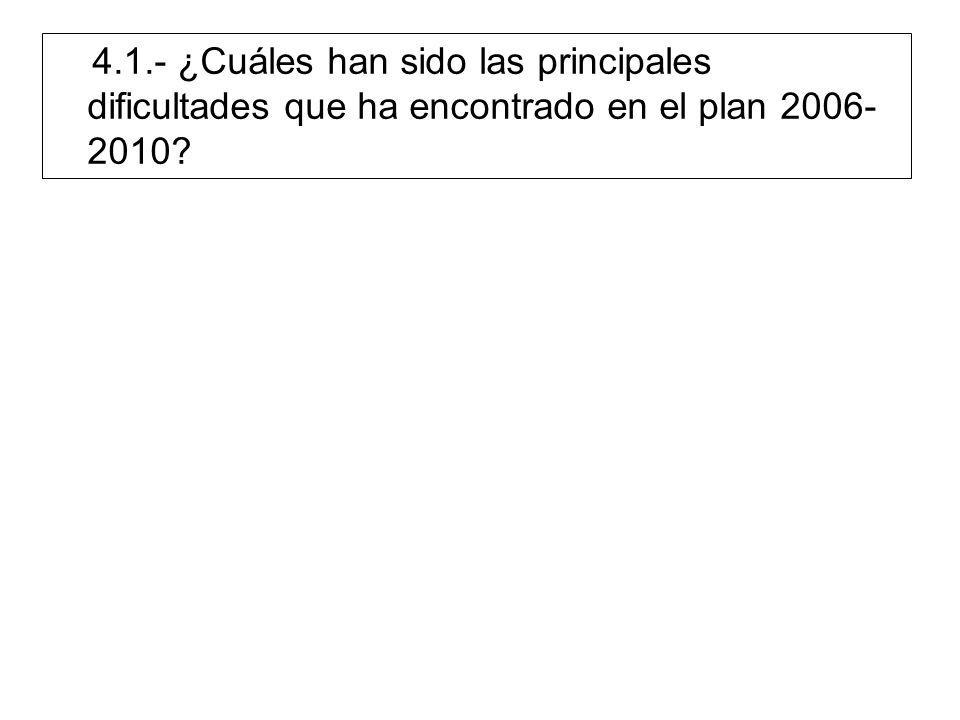 4.1.- ¿Cuáles han sido las principales dificultades que ha encontrado en el plan 2006- 2010?