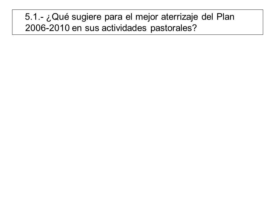 5.1.- ¿Qué sugiere para el mejor aterrizaje del Plan 2006-2010 en sus actividades pastorales?