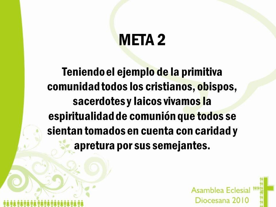 META 2 Teniendo el ejemplo de la primitiva comunidad todos los cristianos, obispos, sacerdotes y laicos vivamos la espiritualidad de comunión que todo