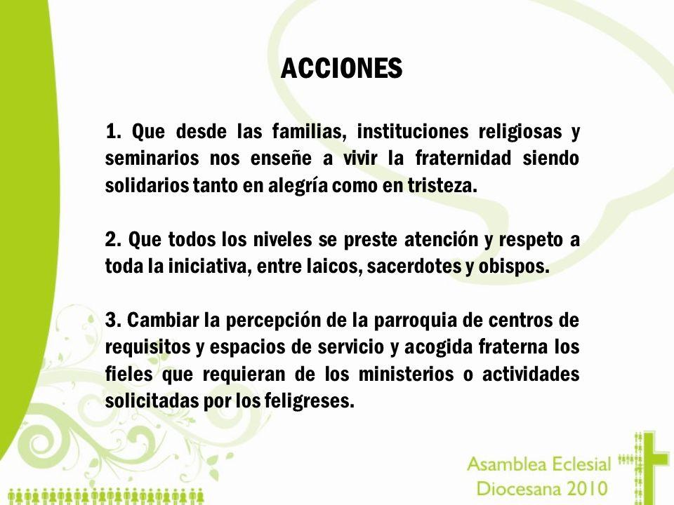 ACCIONES 1. Que desde las familias, instituciones religiosas y seminarios nos enseñe a vivir la fraternidad siendo solidarios tanto en alegría como en