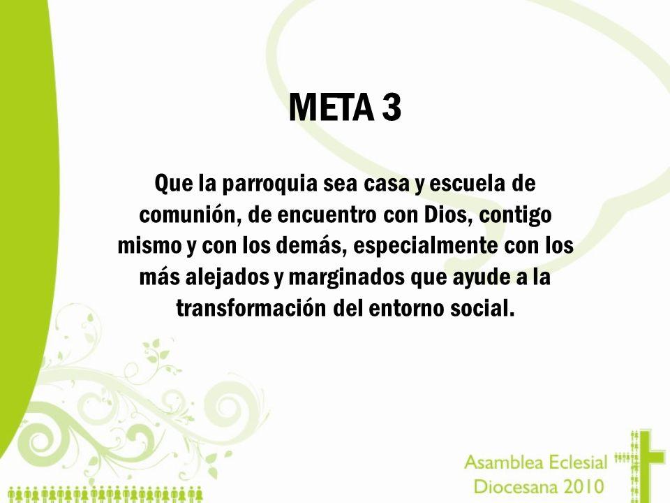 META 3 Que la parroquia sea casa y escuela de comunión, de encuentro con Dios, contigo mismo y con los demás, especialmente con los más alejados y mar