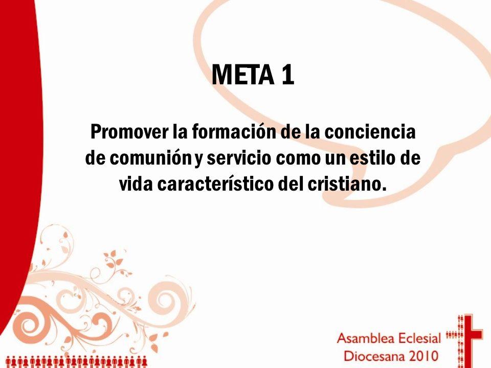 META 1 Promover la formación de la conciencia de comunión y servicio como un estilo de vida característico del cristiano.