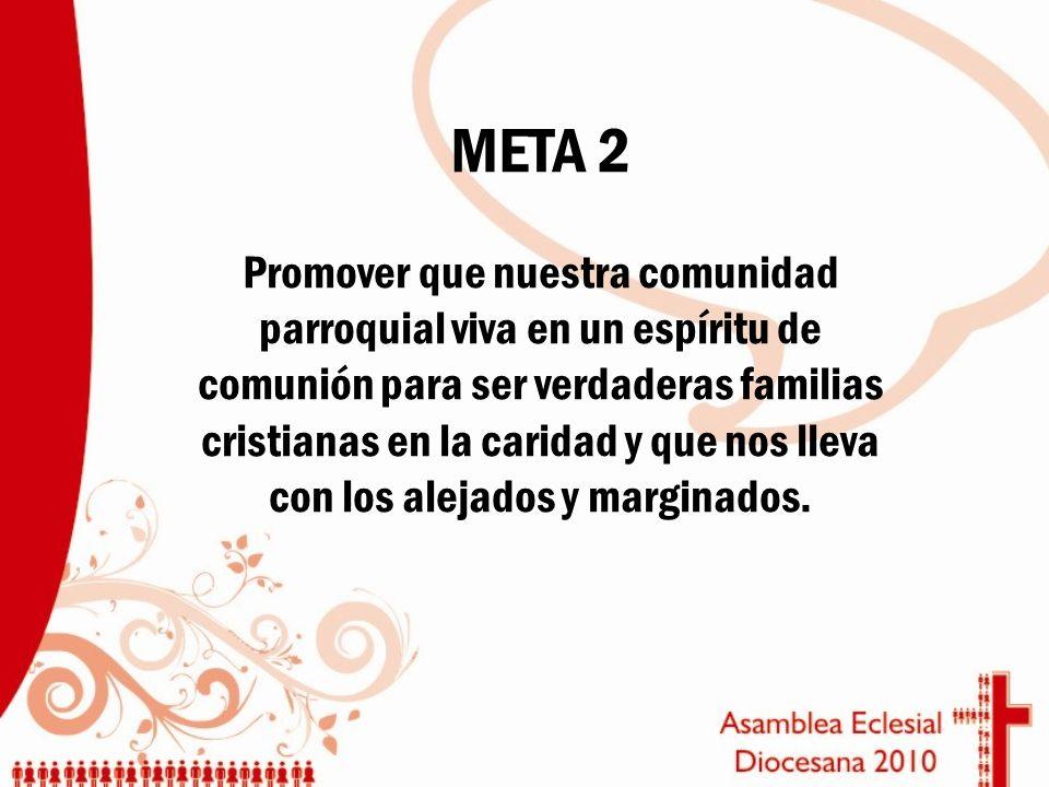 META 2 Promover que nuestra comunidad parroquial viva en un espíritu de comunión para ser verdaderas familias cristianas en la caridad y que nos lleva