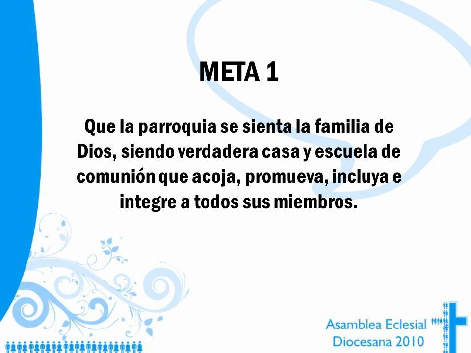 META 1 Que la parroquia se sienta la familia de Dios, siendo verdadera casa y escuela de comunión que acoja, promueva, incluya e integre a todos sus m