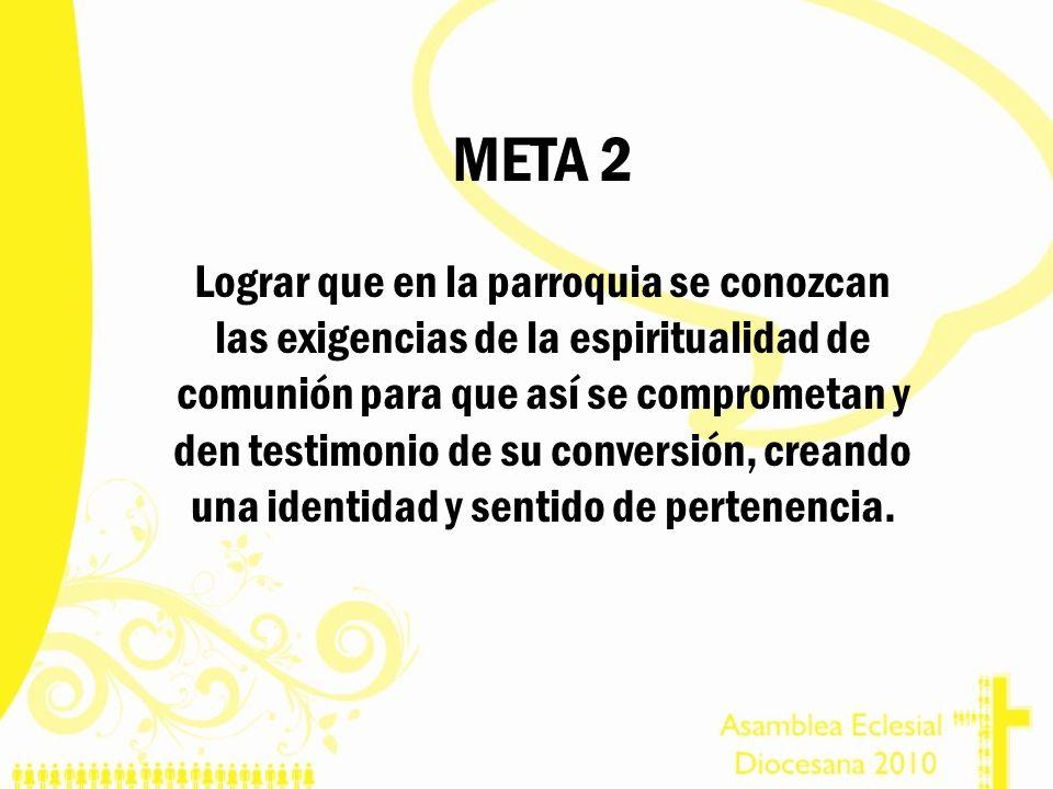 META 2 Lograr que en la parroquia se conozcan las exigencias de la espiritualidad de comunión para que así se comprometan y den testimonio de su conve