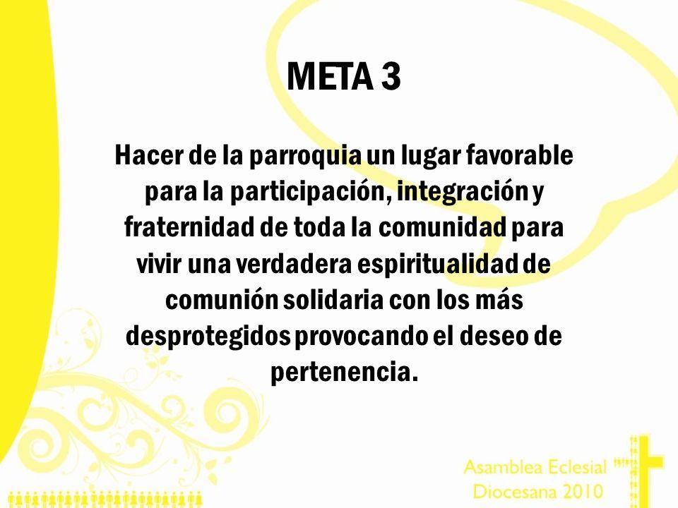 META 3 Hacer de la parroquia un lugar favorable para la participación, integración y fraternidad de toda la comunidad para vivir una verdadera espirit