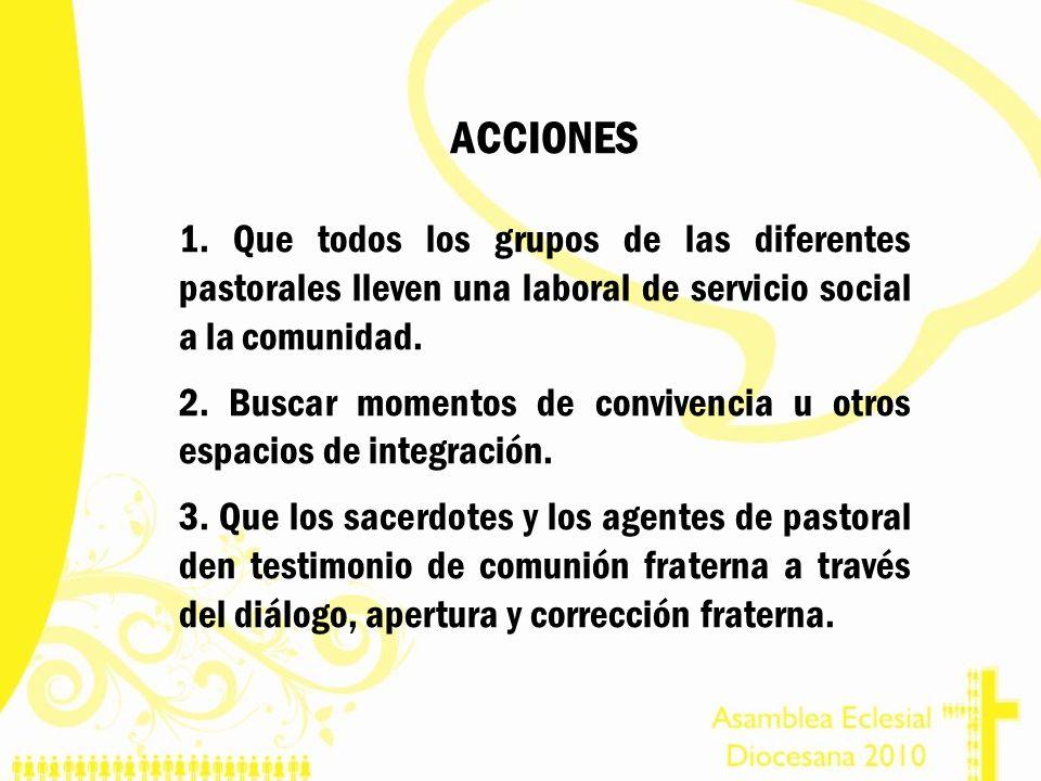 ACCIONES 1. Que todos los grupos de las diferentes pastorales lleven una laboral de servicio social a la comunidad. 2. Buscar momentos de convivencia