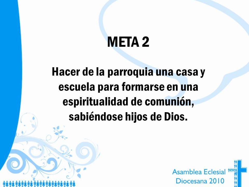 META 2 Hacer de la parroquia una casa y escuela para formarse en una espiritualidad de comunión, sabiéndose hijos de Dios.