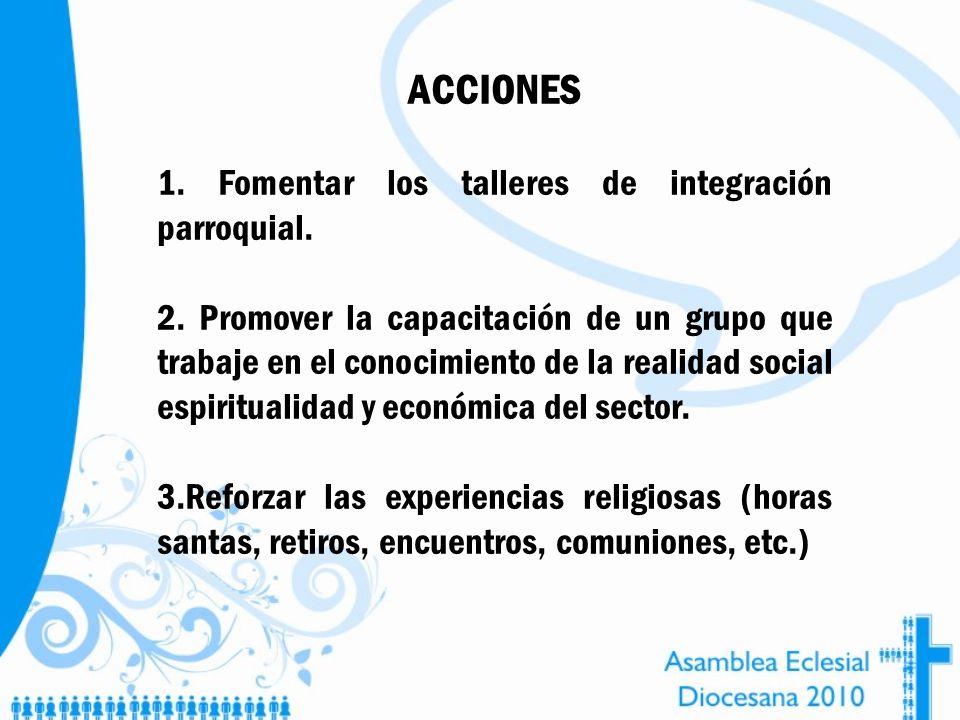 ACCIONES 1. Fomentar los talleres de integración parroquial. 2. Promover la capacitación de un grupo que trabaje en el conocimiento de la realidad soc