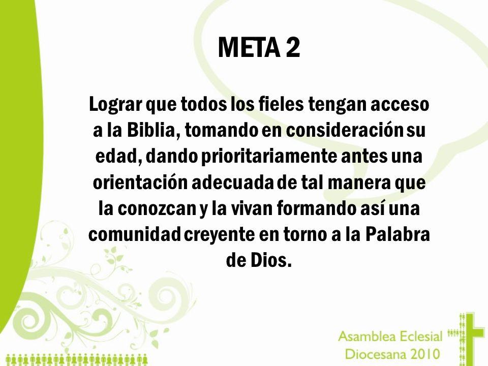 META 2 Lograr que todos los fieles tengan acceso a la Biblia, tomando en consideración su edad, dando prioritariamente antes una orientación adecuada