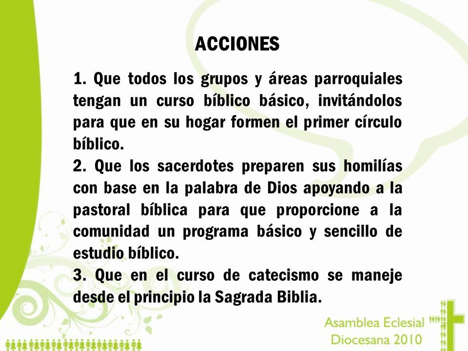 ACCIONES 1. Que todos los grupos y áreas parroquiales tengan un curso bíblico básico, invitándolos para que en su hogar formen el primer círculo bíbli