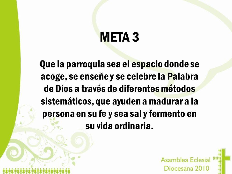 META 3 Que la parroquia sea el espacio donde se acoge, se enseñe y se celebre la Palabra de Dios a través de diferentes métodos sistemáticos, que ayud