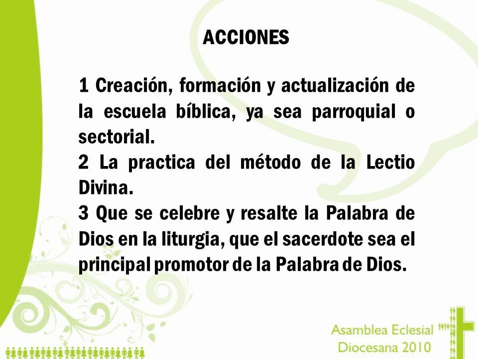 ACCIONES 1 Creación, formación y actualización de la escuela bíblica, ya sea parroquial o sectorial. 2 La practica del método de la Lectio Divina. 3 Q