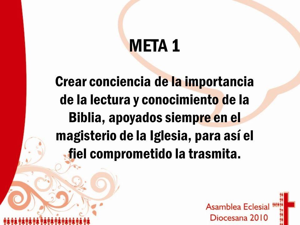 META 1 Crear conciencia de la importancia de la lectura y conocimiento de la Biblia, apoyados siempre en el magisterio de la Iglesia, para así el fiel