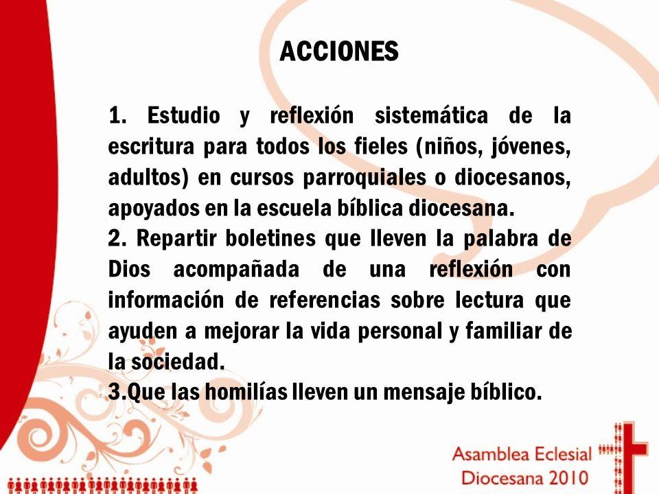ACCIONES 1. Estudio y reflexión sistemática de la escritura para todos los fieles (niños, jóvenes, adultos) en cursos parroquiales o diocesanos, apoya