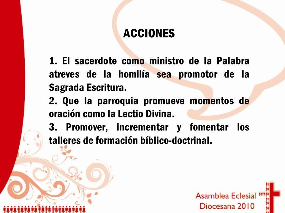 ACCIONES 1. El sacerdote como ministro de la Palabra atreves de la homilía sea promotor de la Sagrada Escritura. 2. Que la parroquia promueve momentos