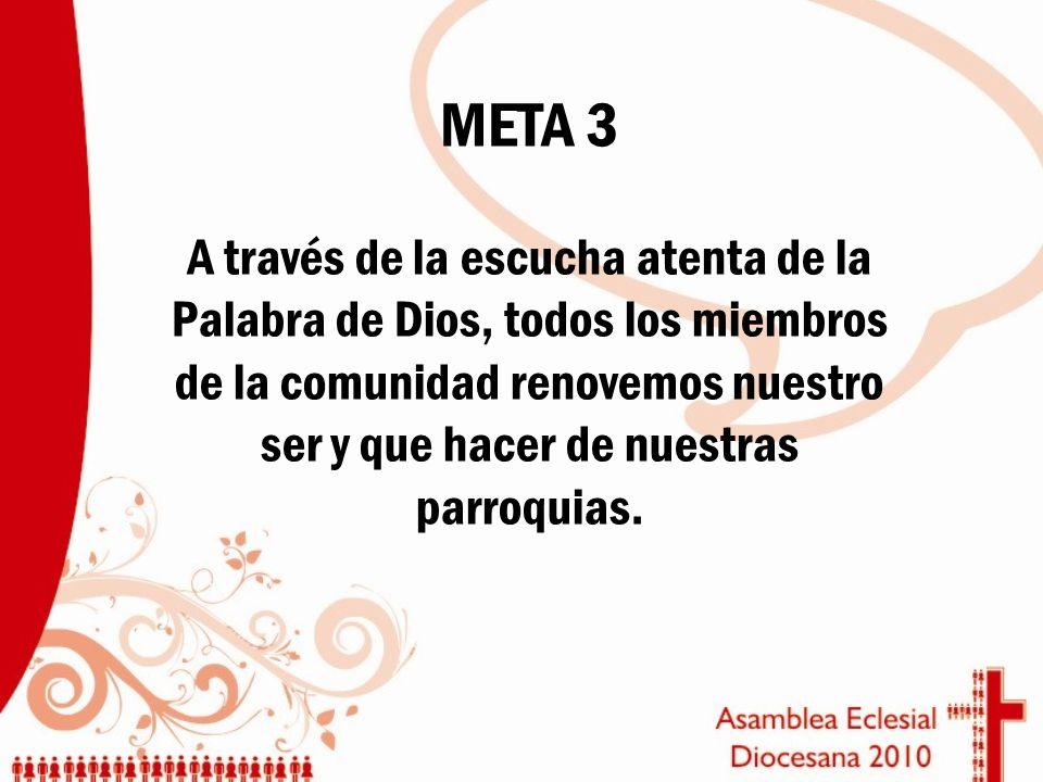 META 3 A través de la escucha atenta de la Palabra de Dios, todos los miembros de la comunidad renovemos nuestro ser y que hacer de nuestras parroquia