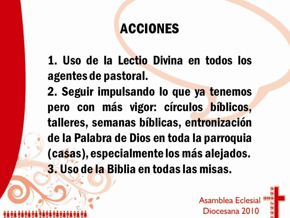 ACCIONES 1. Uso de la Lectio Divina en todos los agentes de pastoral. 2. Seguir impulsando lo que ya tenemos pero con más vigor: círculos bíblicos, ta