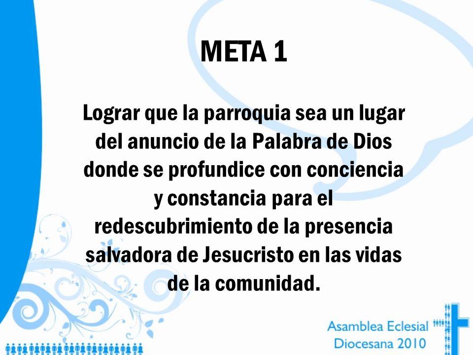 META 1 Lograr que la parroquia sea un lugar del anuncio de la Palabra de Dios donde se profundice con conciencia y constancia para el redescubrimiento