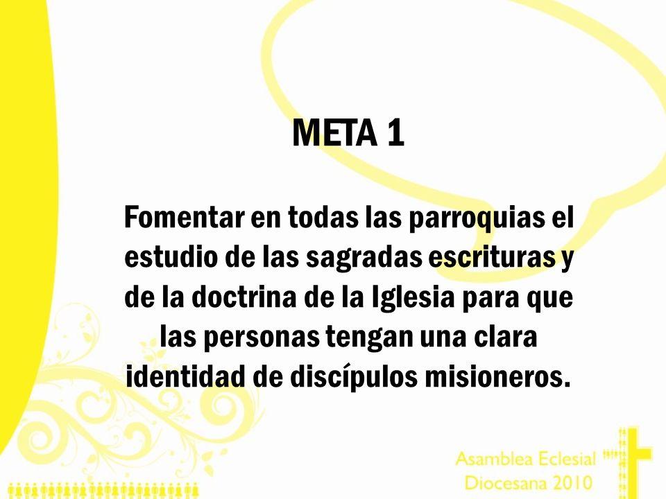 META 1 Fomentar en todas las parroquias el estudio de las sagradas escrituras y de la doctrina de la Iglesia para que las personas tengan una clara id