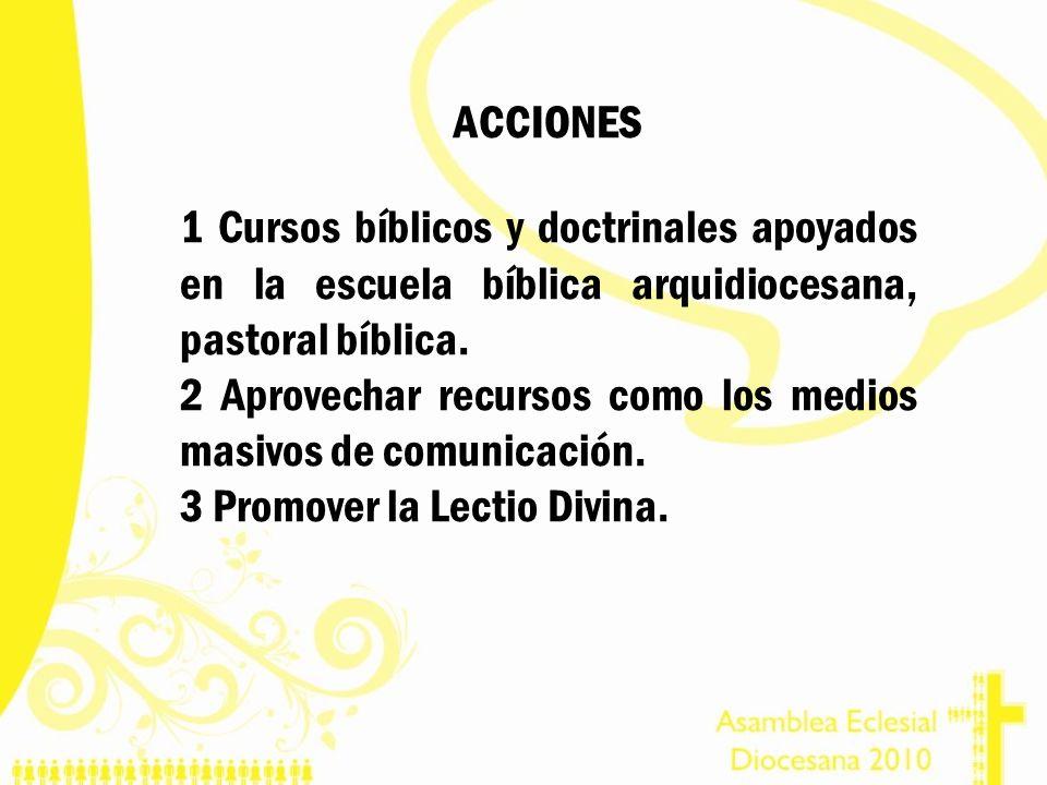 ACCIONES 1 Cursos bíblicos y doctrinales apoyados en la escuela bíblica arquidiocesana, pastoral bíblica. 2 Aprovechar recursos como los medios masivo