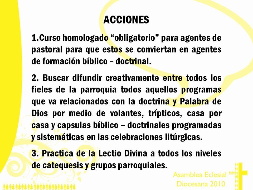ACCIONES 1.Curso homologado obligatorio para agentes de pastoral para que estos se conviertan en agentes de formación bíblico – doctrinal. 2. Buscar d