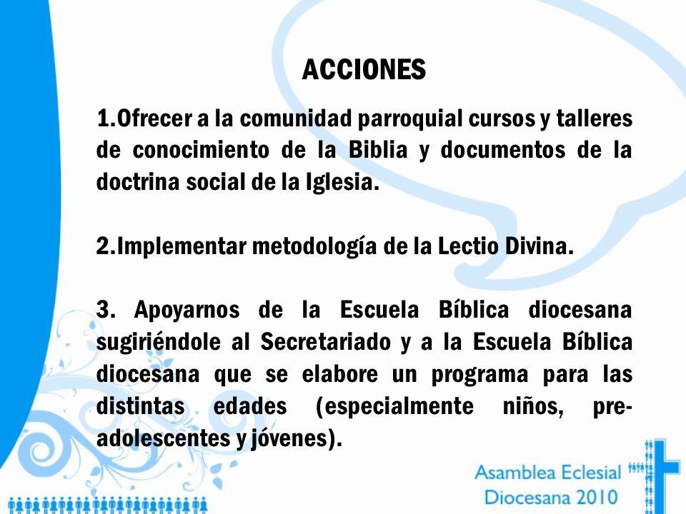 ACCIONES 1.Ofrecer a la comunidad parroquial cursos y talleres de conocimiento de la Biblia y documentos de la doctrina social de la Iglesia. 2.Implem