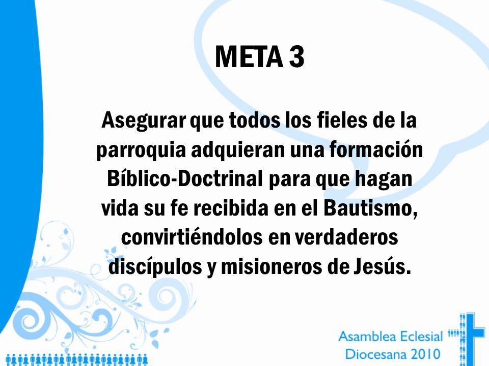 META 3 Asegurar que todos los fieles de la parroquia adquieran una formación Bíblico-Doctrinal para que hagan vida su fe recibida en el Bautismo, conv