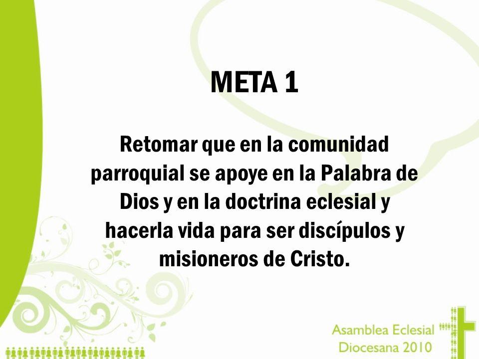 META 1 Retomar que en la comunidad parroquial se apoye en la Palabra de Dios y en la doctrina eclesial y hacerla vida para ser discípulos y misioneros