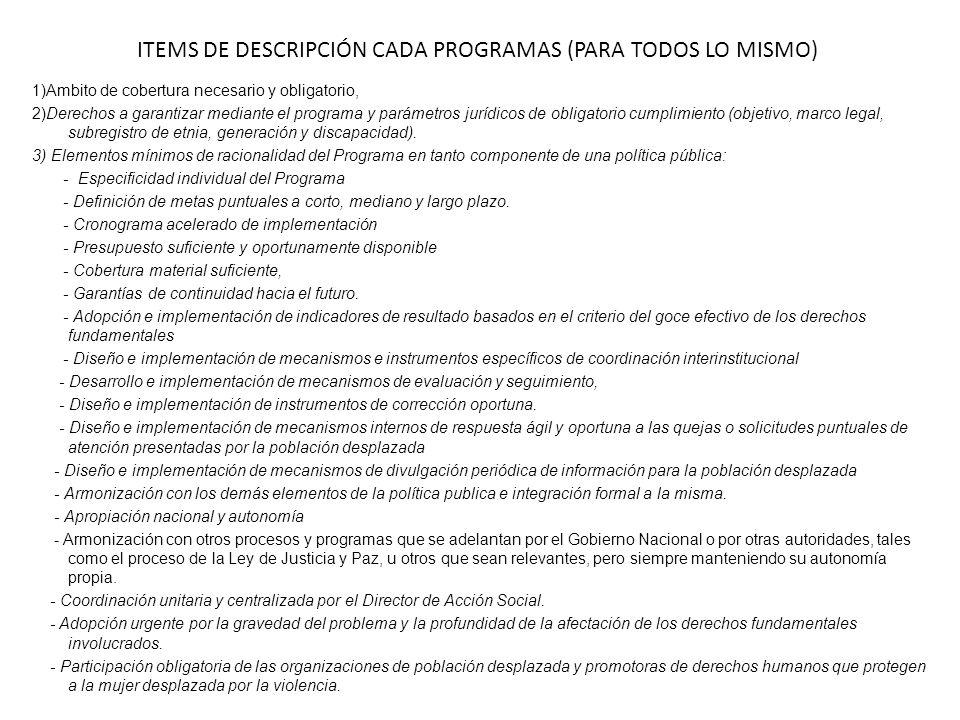 ITEMS DE DESCRIPCIÓN CADA PROGRAMAS (PARA TODOS LO MISMO) 1)Ambito de cobertura necesario y obligatorio, 2)Derechos a garantizar mediante el programa